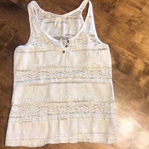 Lace cream colored tank by H&M women's M